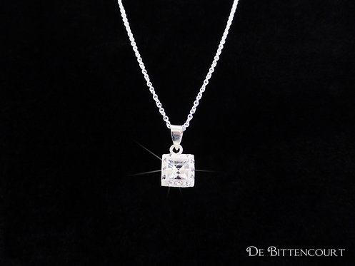 Silver Square Rhinestone Necklace