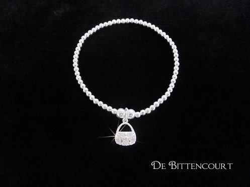 Sparkly Hand-bag Sterling Silver Bracelet