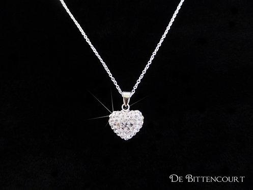 Silver Diamante Puff Heart Necklace