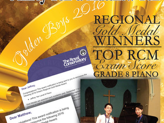 MSoM's Jeffrey Yen & Matthew Yen Win Regional Gold Medal for Grade 8 RCM Piano - Top RCM Sco