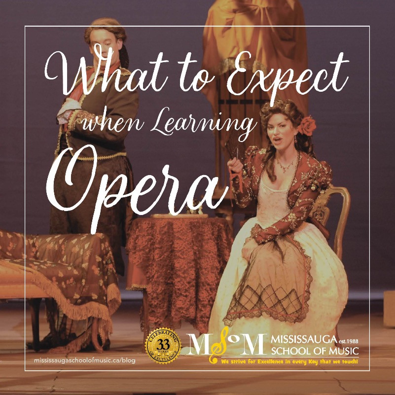 Opera scene of woman and man in period costume - what to expect when learning opera
