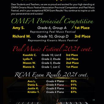 OMFA Provincial Music Festival Winners, Peel Music Festival Winners, RCM Exam Results 2021