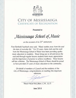 Certificate of Recognition 25 Years+