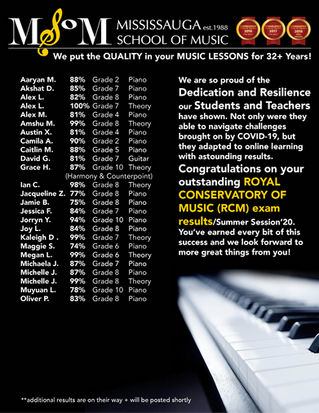 MSoM Students Bring Home Outstanding Online RCM Exam Results for Piano, Guitar, Theory: Summer 2020!
