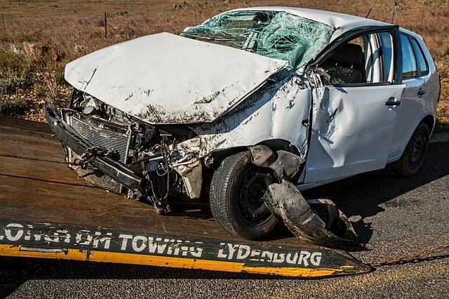white car damage
