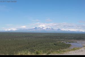 Mt. Sanford, Mt. Drum, Mt. Wrangell from the Richardson Highway