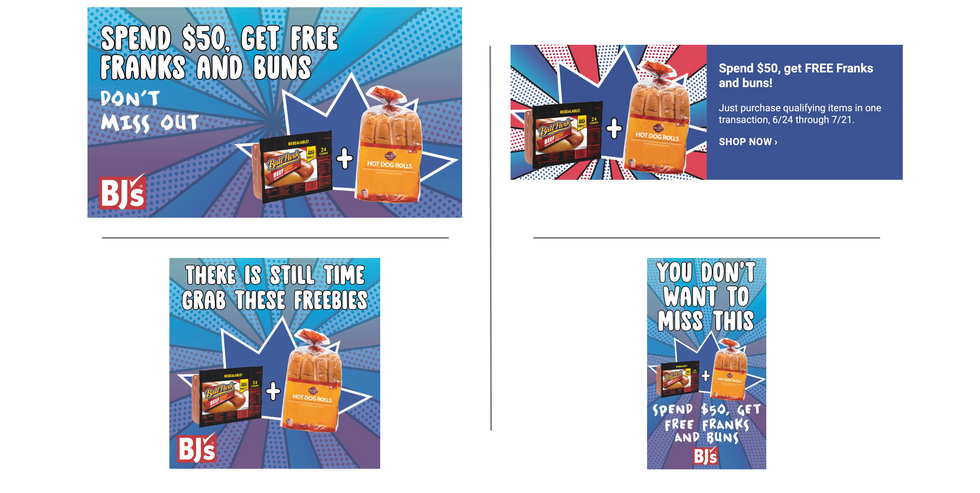 BJ's Wholesale Club 4th of July FREE Dogs & Buns Promo / Social assets