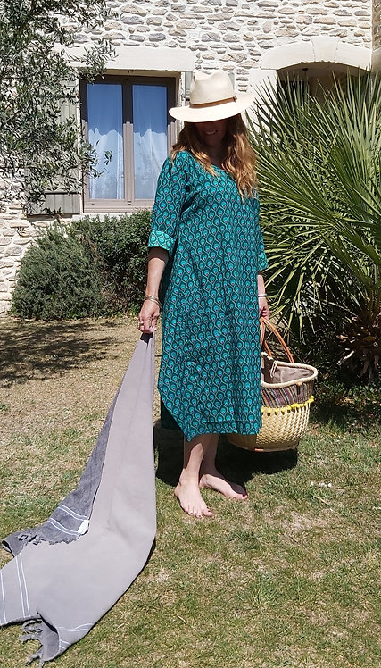 Robe Africa Peacock Vert Turquoise