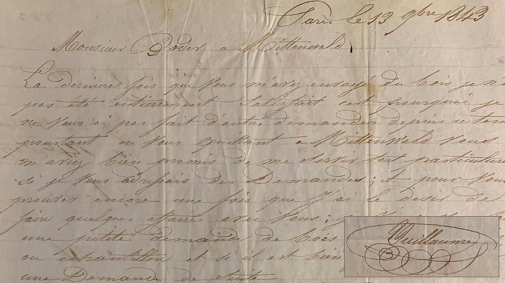 Lettre de Jean-Baptiste Vuillaume (1843)