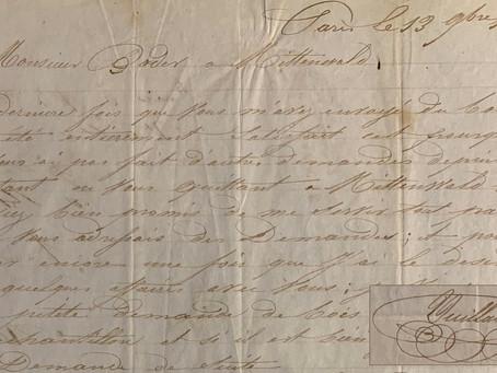 Lettre originale de Vuillaume (1843)