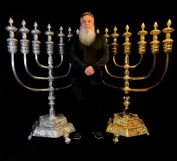 Gold Metal 7 Branch Temple Menorah Replica