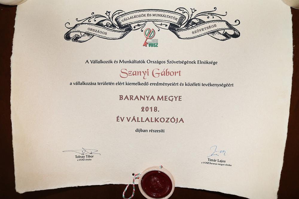 Prima Primissima díj 2018 - Év vállalkozója Szanyi Gábor