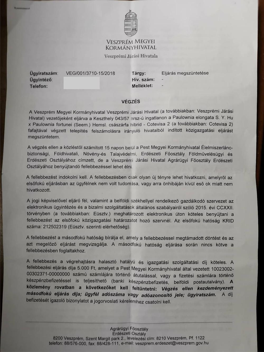 Cotevisa 2 ipari császárfa bírósági határozat