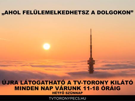 Május 8-tól újra látogatható a Pécsi Tv-Torony Kilátó