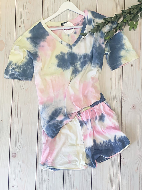 Tie dye shirt and shorts