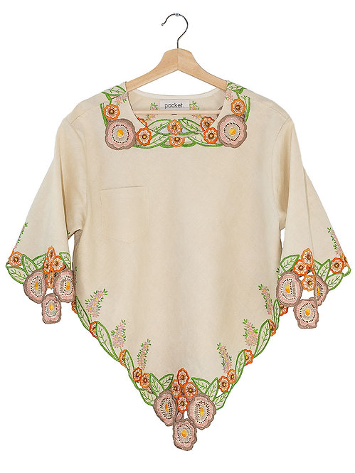 The Heather Top: Embroidered Linen