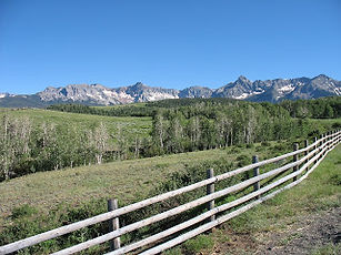 The picturesque Mt. Sneffels Range as photographed from the Dallas Divide.