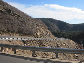 Scenic views of High Grade Road, twisting its way back toward Deer Creek Canyon