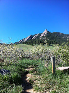 The pristine Boulder Flatirons at the base of Flagstaff Mountain