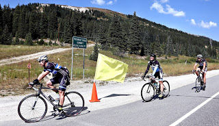 Riders roll into the checkpoint at Fremont Pass during the 2015 version of Denver to Aspen.