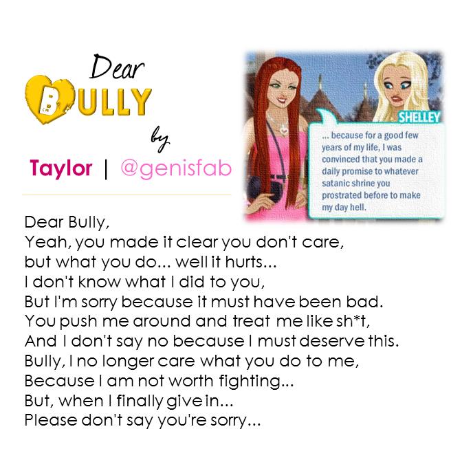 """""""Dear Bully"""" © 2015"""