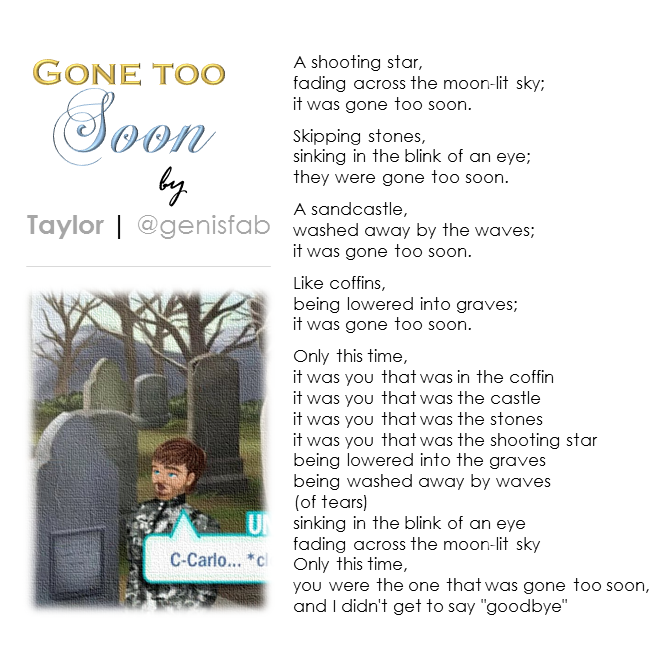 """Gone Too Soon"" © 2015"