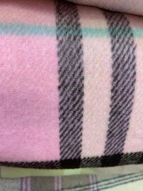 Pink Check Coat Wool