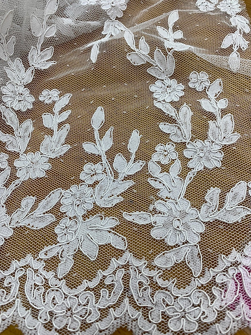 White guipura lace
