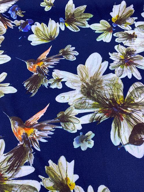Hummingbird polyester crepe