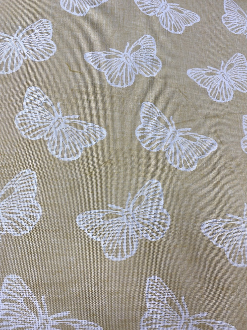 Butterfly lemon woven cotton