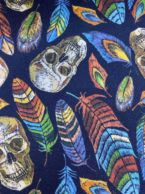Skulls and feathers cotton