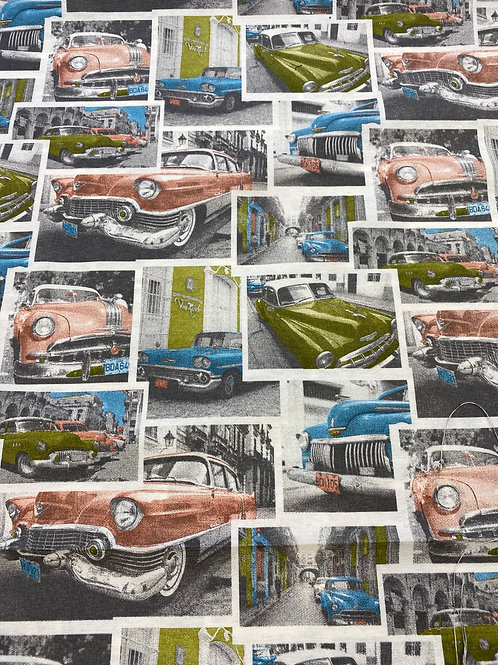 1950s Cars cotton canvas