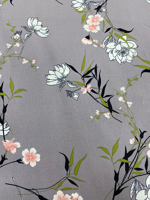 Grey flower poly crepe