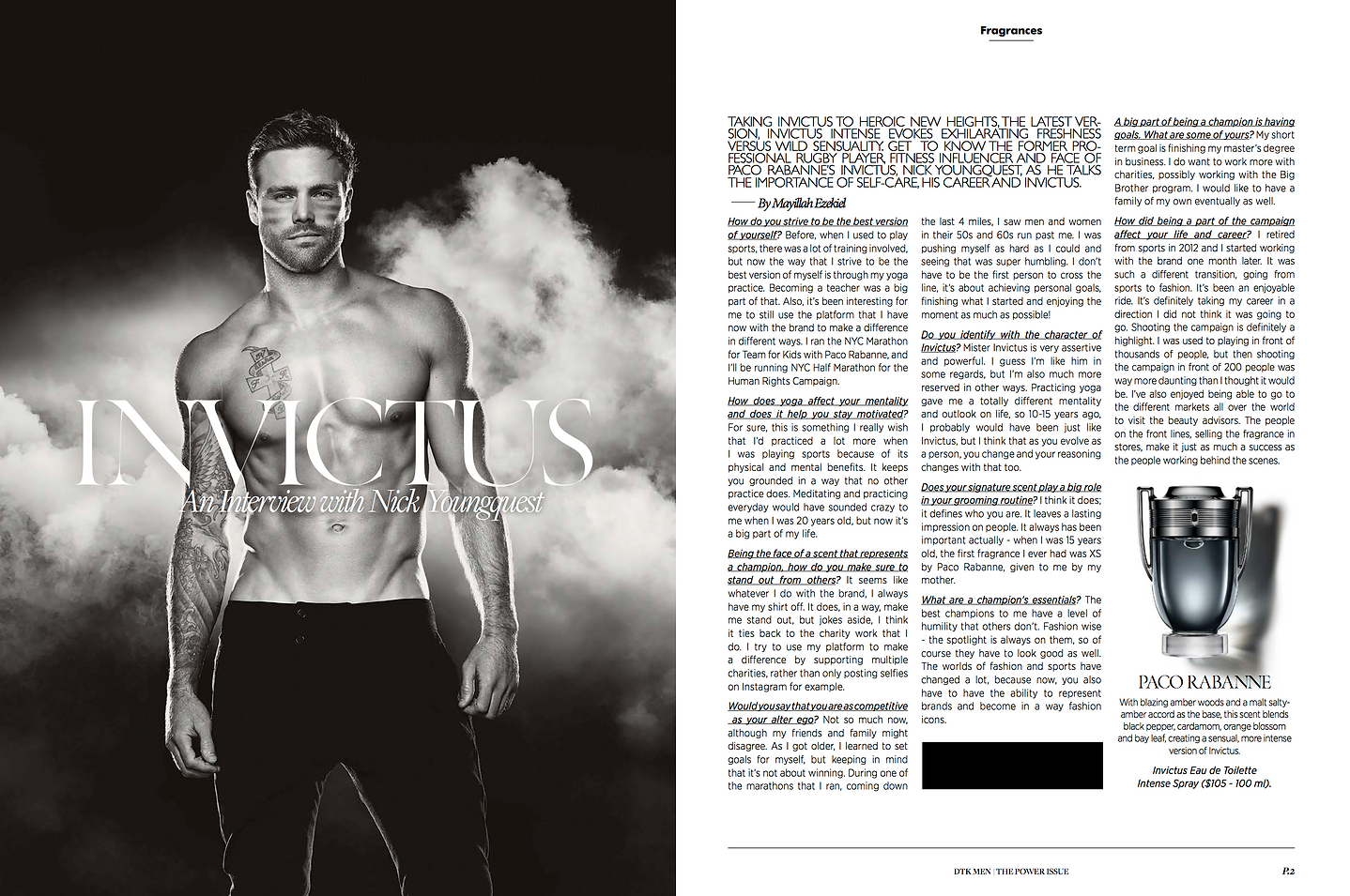 Nick Youngquest, Interview, Paco Rabanne, Invictus, Invictus Interiew