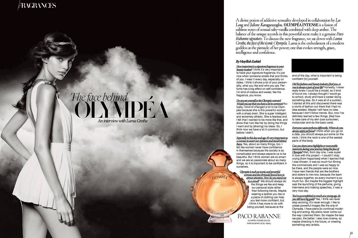Olympea, Paco Rabanne, Luma Grothe, Interview,