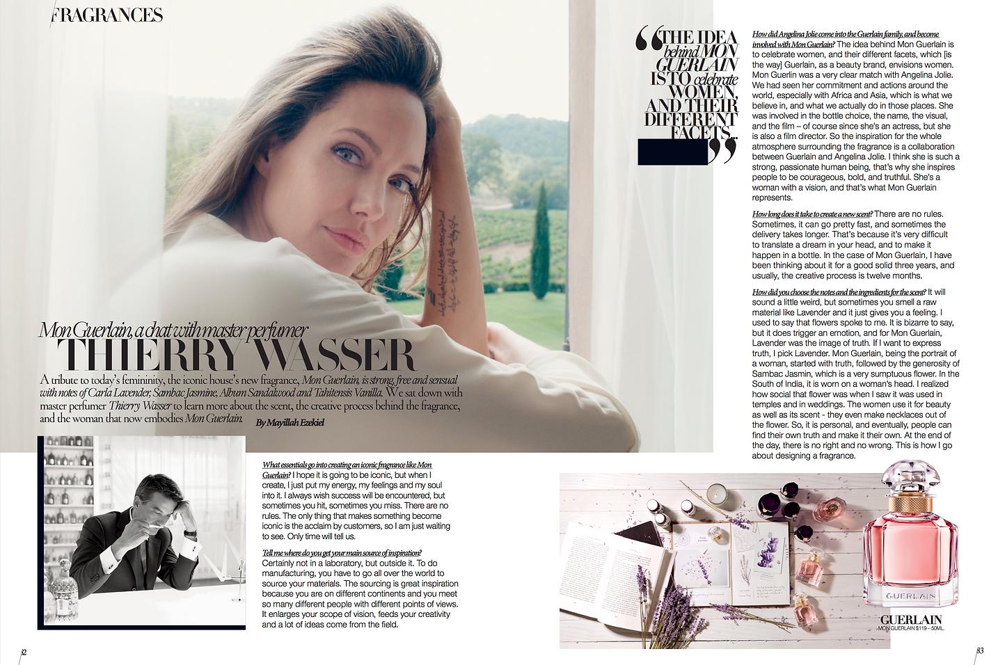 Thierry Wasser, Interview, Angelina Jolie, Mon Guerlain, Guerlain