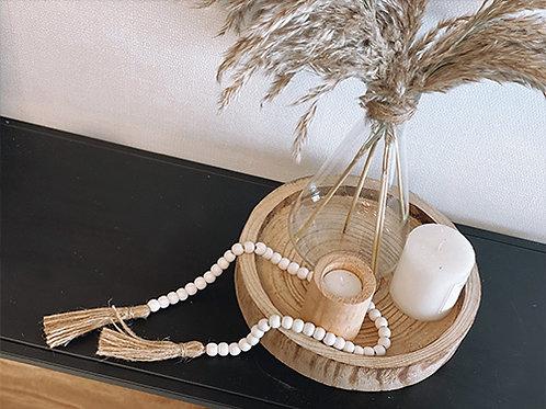 שרשרת חרוזי עץ בוהו בלבן