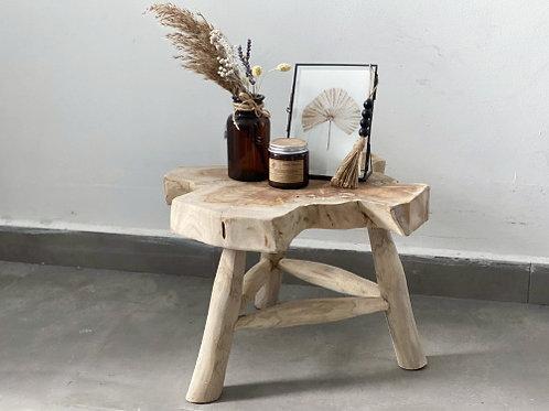 סטול שולחן צד עץ טבעי טיק- S