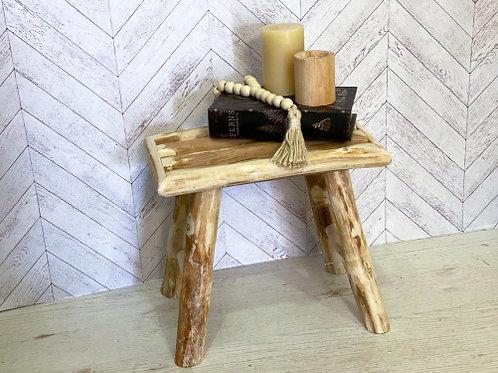 שרפרף עץ מלבני