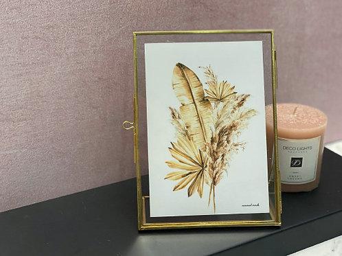מסגרת מתכת זהב-הדפס זר פמפס