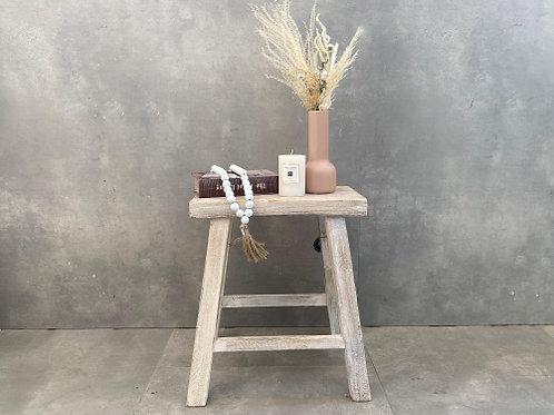 שרפרף מלבני עץ מלא- מולבן
