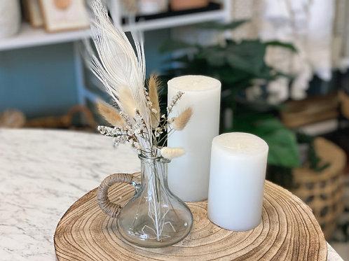 אגרטל זכוכית ידית קטן עם זר טבעי - LORA