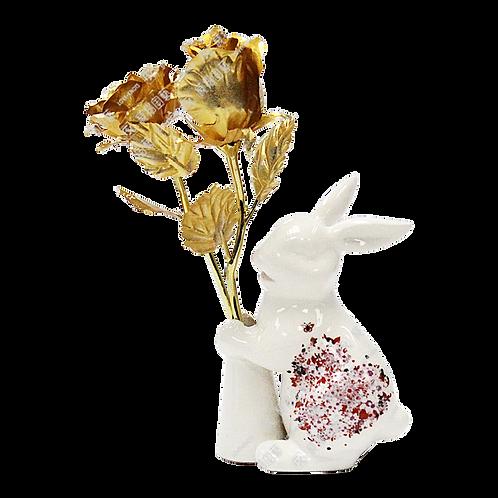B0172/B0174/PM039 中號金玫瑰(全開&含苞)+兔仔陶瓷樽