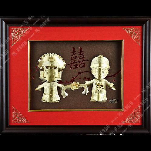 C0165 中式結婚金箔畫