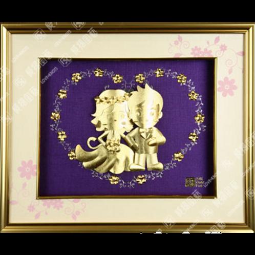 C0163 西式結婚金箔畫