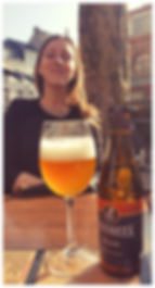 Drinking a Gansbeek Blonde in Place Saint Géry at Perle de Siam