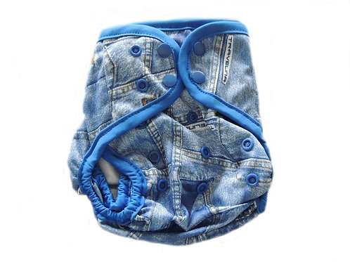 Diaper Cover With Double Gussets - Denim