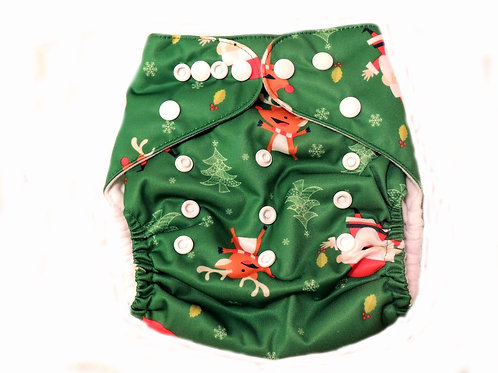 Pocket Diaper With Double Gussets - Christmas (green)
