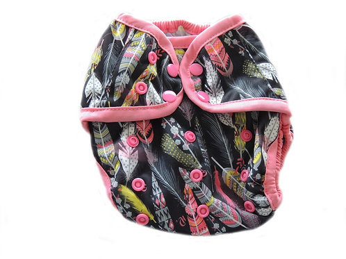 Diaper Cover With Double Gussets - Feathers