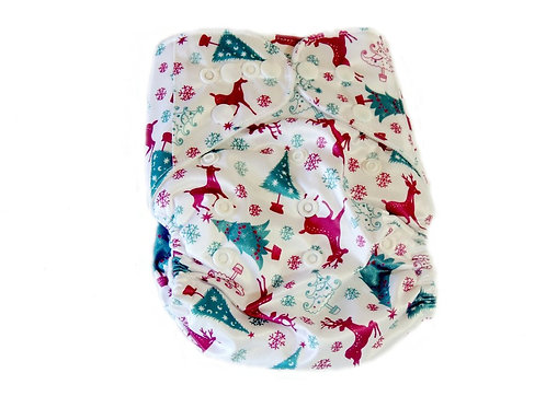 Pocket Diaper With Double Gussets - Christmas (white)